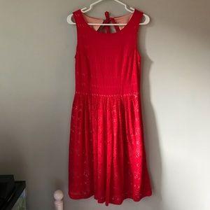 Anthropologie Postmark red open-back midi dress
